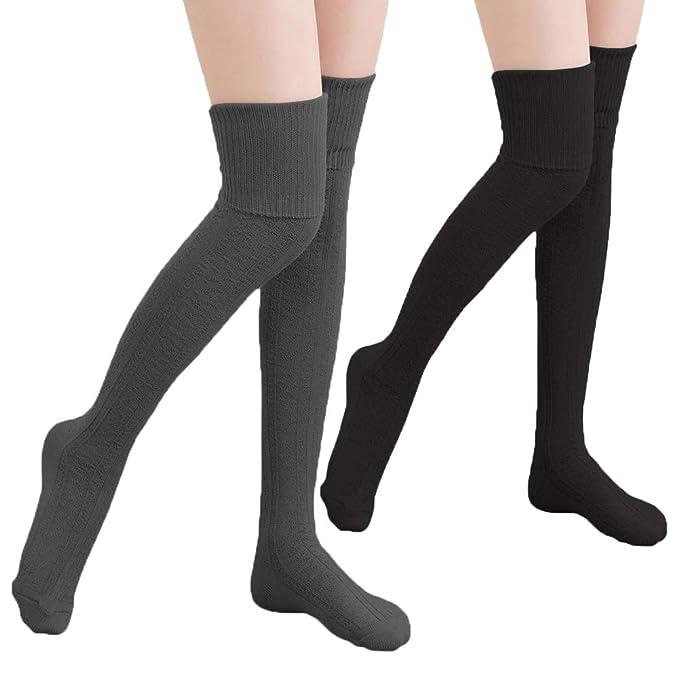 d42b83a492a Wander G Womens Cotton Thigh High Socks Over Knee High Stockings Extra Long Knit  Leg Warmers