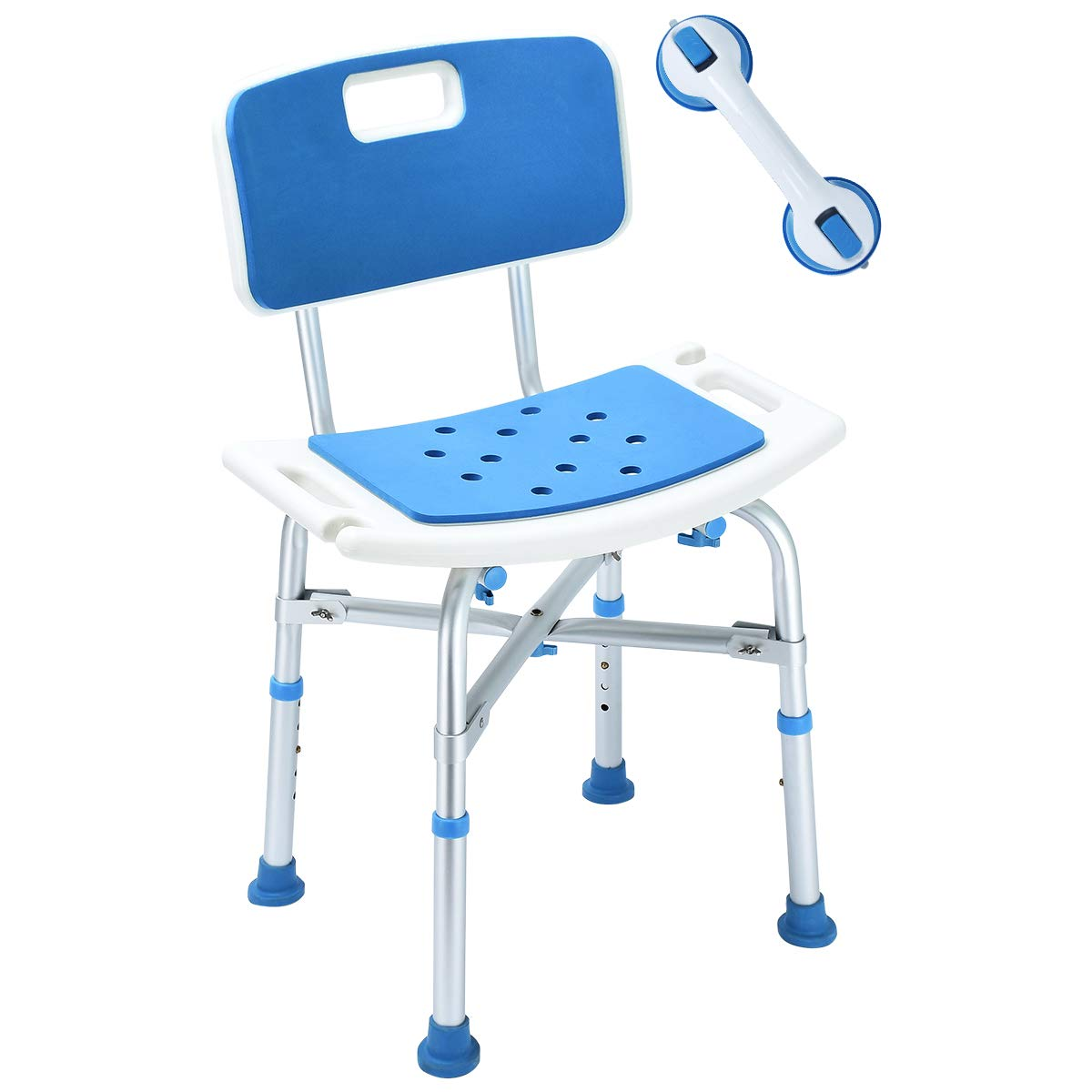 2018 Upgraded 500 lbs Cap. Shower Chair, Bariatric Heavy Duty Bath Chair Transfer Bench w/EVA Paded Seat and Assist Grab Bar (White/Blue)