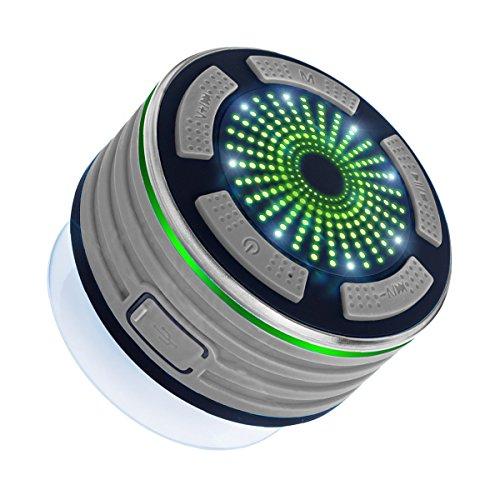Expower 5W IPX7 Waterproof Enceinte Bluetooth Etanche Douche Ventouse Sans fil Haut-Parleur Stéréo Bluetooth Portable Speaker avec LED lumière Anti-choc Anti-poussière pour iPhone 6 6s 7 5 5s Samsung