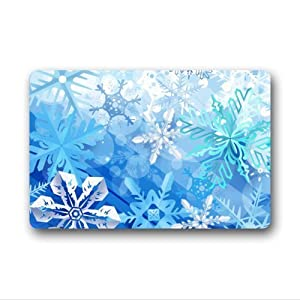 beautiful snowflake art,amazing white snow pattern non-woven fabric top Custom Doormat,Indoor/Outdoor Floor Mat( 23.6 X 15.7 Inch)
