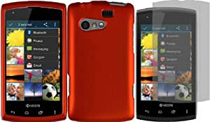 For Kyocera Rise C5155 Hard Cover Case Orange+LCD Screen Protector