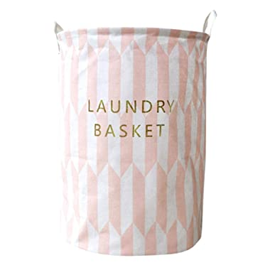 Waterproof Laundry Basket Bag - Gbell Sheets Laundry Clothes Storage Basket Folding Storage Box for Book, Kids Adults Dirty Clothes, Boy Girl Toys,36.5 × 40 cm,30 x 45cm (Pink)