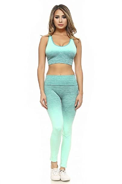 647fa35ecc Womens Active Wear Fitness Yoga Exercise Stretch Leggings Sports Bra  Athletic Set (Small, Aqua