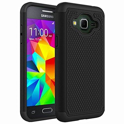 Samsung Galaxy J3 2016, Galaxy J3 V, Galaxy Amp Prime, Galaxy Express Prime Case, Hybrid Dual Layer Armor Defender Phone Case, Shockproof, Drop Protection (Black)