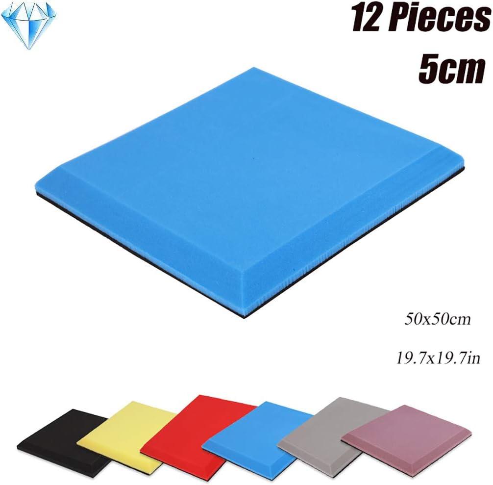 Wyujie Autoadhesivas acústico Aislamiento acústico de Sonido Manta de Espuma de Aislamiento 12 PCS Antracita 50X50cm,Azul,Self Adhesive: Amazon.es: Hogar