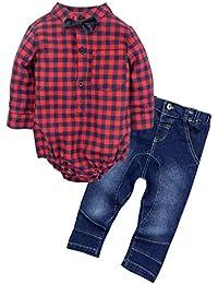 Baby Boys '2 piezas jeans camisa ropa Set con Bowtie G24