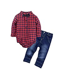 BIG ELEPHANT Baby Boys'2 Piece Jeans Shirt Clothing Set with Bowtie G24C