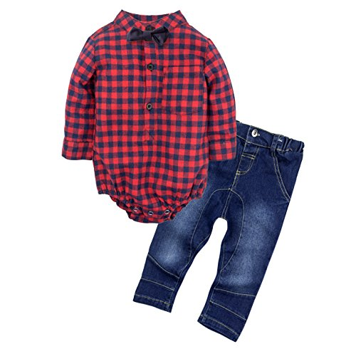 Clothes Baby Big (BIG ELEPHANT Baby Boys 2 Piece Jeans Shirt Clothing Set With Bowtie, Multicoloured, 3 - 6 Months)