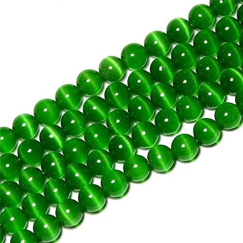 6mm Round Dark Green Cat Eye Beads Loose Gemstone Beads for Jewelry Making Strand 15 Inch (63-66pcs)