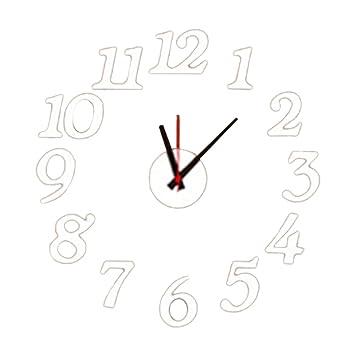 reloj digital de pared sin marco pvc moderna grandes pegatinas de pared relojes relojes decoraciones para el hogar sala blanca: Amazon.es: Bricolaje y ...