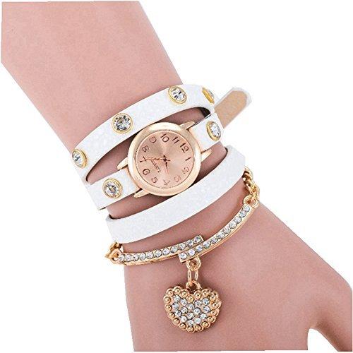 Women Automatic Mechanical Wrist Watch with PU Band (White) - 1