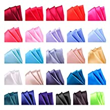 ciciTree Solid Color Men's Pocket Square Handkerchief Polyester Silk Gift Box