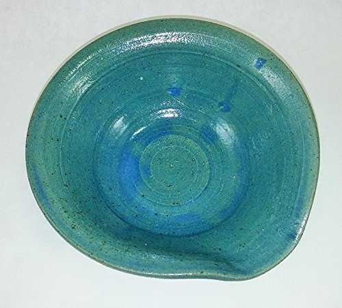 Aunt Chris' Pottery - Made of Clay - Spoon Rest - With Built-in Handle Lip and Pour Spout- Primitive Style - Green Blue Color Glazed