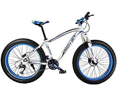 Richbit Blue White 2015 New Updated Snow Bike Fat Tire Mountain Bicycle with Suspension Fork 27 Speeds Hydraulic Disc Brakes for Beach Off Road