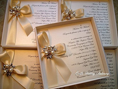 Luxury Boxed Wedding Invitation With Satin Ribbon And Pearl