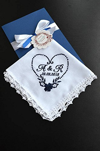 Wedding handkerchief for couple, personalized bride handkerchief, personalized hankerchief, Wedding hankies, monogrammed wedding hanky Save the date