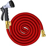SuperGrowing 100 Feet Flexible Expandable Rubber Garden Hose with Solid Brass Connector and valve,Double Layer Latex Core,8 Function Spray Nozzle,Large Hose Hook Holder(RED) (100Ft)