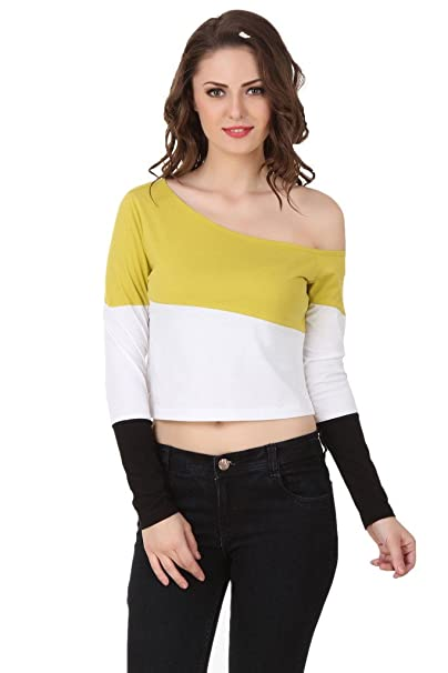 7a4dda415a8ec TEXCO Lime Yellow and White One Off Shoulder Women Crop Tops  Amazon.in   Clothing   Accessories