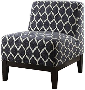 ACME Hinte Dark Blue Chenille Accent Chair