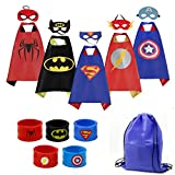 Mizzuco Cartoon Dress up Costumes Satin Capes with Felt Masks,Slap Bracelets and Exclusive Bag for Boys (5pcs Costume)