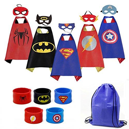 Mizzuco Cartoon Dress up Costumes Satin Capes with Felt Masks,Slap Bracelets and Exclusive Bag for Boys (5pcs Costume)