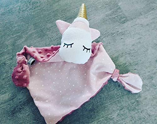 Doudou Bebe Licorne Ton Rose Creation Fait Main Idee Cadeau De Naissance Neuf Amazon Fr Handmade