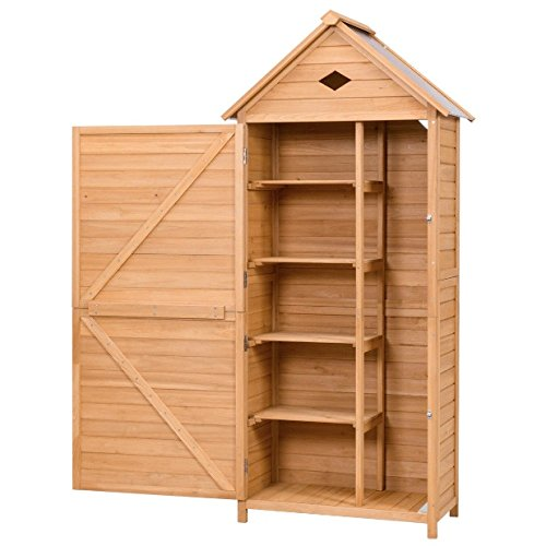 Single Door Outdoor Wooden Garden Shed 5 Shelves Solid Fir Wood Construction Tools Lawn Care Equipment Pool Supplies Storage Organizer Cabinet Unit Galvanized Sheet Roof Weather And Rust Resistant