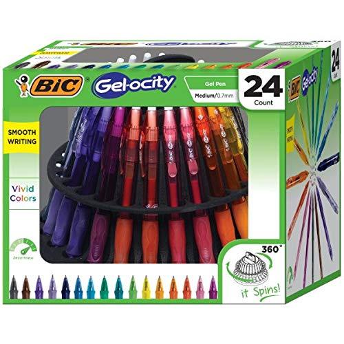(BIC Gel-ocity Original Retractable Gel Pen Spinner, Assorted Colors, 24-Count)