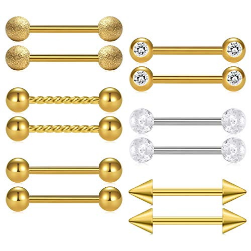 D.Bella 12pcs 14G 14mm 9/16 inch Gold Nipple Rings Stainless Steel Tongue Piercing Straight Barbell Retainer Body Piercing ()