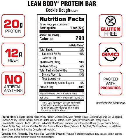 Labrada Lean Body Protein Bars Cookie Dough, 1er Pack (1 x 864 grams)