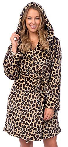 Patricia Women's Premium Soft Plush Robe Mid Length with Hood (Leopard Print, L/XL)