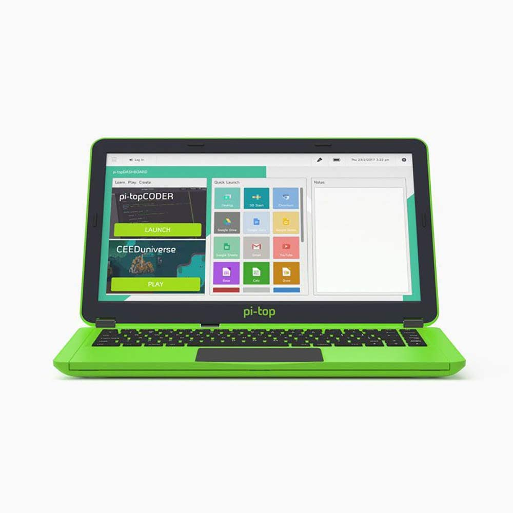New Pi-Top, Green, with Inventors Kit, International Plug, US Keyboard Layout, in
