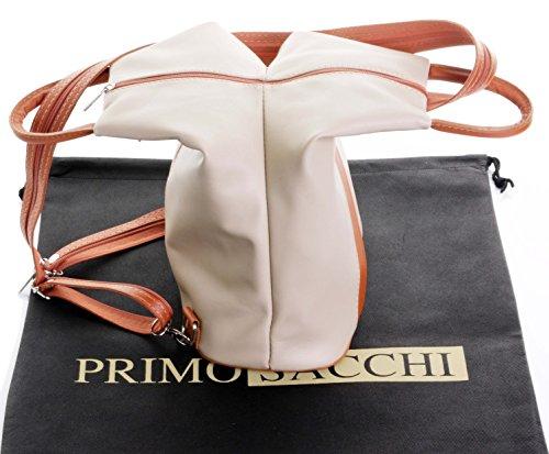 Leather Shoulder Tan Primo Napa Handle Sacchi Soft Bag Top Rucksack amp; Backpack Italian Beige nc16O