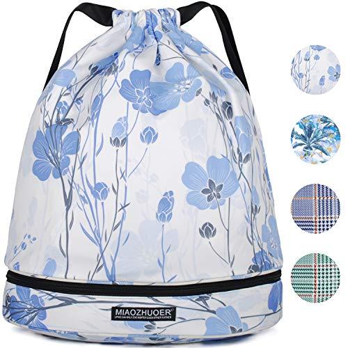 (WANDF Drawstring Backpack String Bag Sackpack Cinch Water Resistant Nylon for Gym Shopping Sport Yoga (Purple White Flower 6034))