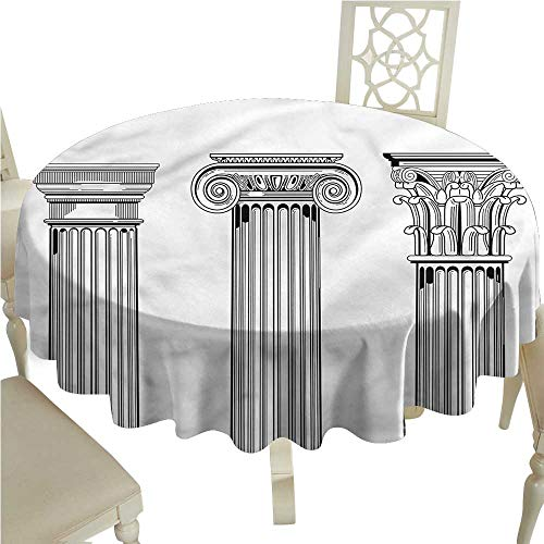 (crabee Round Tablecloth Vinyl Pillar,Antique Column Capitals,Table Cover for Outdoor and Indoor)