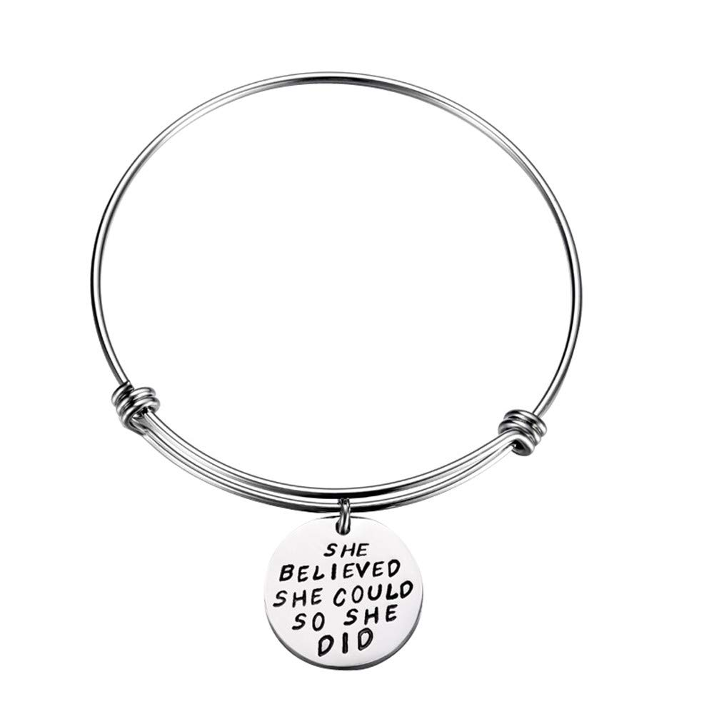 Inspirational Gifts for Women Bracelet Bangle Stainless Steel Engraved Cuff Bangle Idea Gifts Keep Going Believe Be Brave Motivational Friend (Silver)