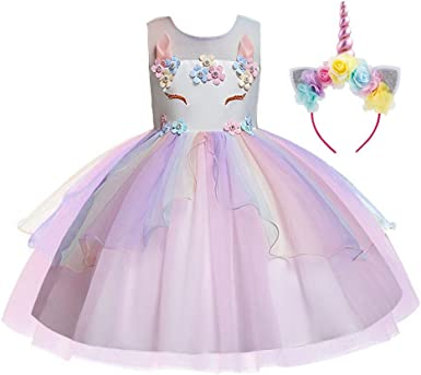 Belle /& Moana Unicorn Dress UK Toddler Girls Princess Dress Up Costume Party Outfit with Unicorn Headband Pink Tulle