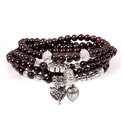 (5mm Natural Gem Semi Precious Gemstone Pomegranate stone Bracelets Necklace,Birthstone Multilayer Hand String Accessories (Wine red ) )