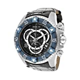 Invicta Men's 11020 Excursion Reserve Chronograph Black Textured Dial Black Leather Watch, Watch Central