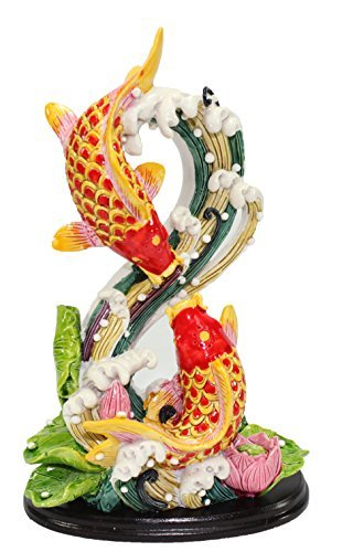 Feng Shui Shape 8 Double Carps Koi Fish in Lotus Pond Statues Figurine Wealth Lucky Figurine Home Decor Gift US Seller (Shape 8 Double Carps LY028)