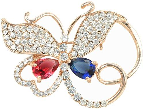 Gyn&Joy Women's Austrian Crystal Butterfly Brooch with Red Blue Cubic Zirconia