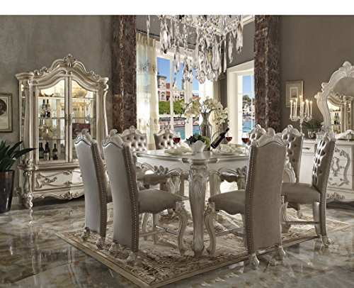 (ACME Versailles Bone White Counter Height Table)