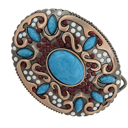 Dovewill Bohemian Beads &Turquoise Decor Western Hip Hop Metal Belt Buckle for Women - Female Buckle