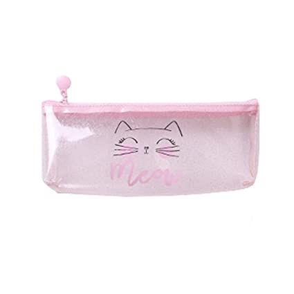 Topdo 1 pcs Estuche de lápices transparente rosa bolsa lápiz caso dibujos animados lapices Estuche,meou PVC 22 * 8 * 17cm