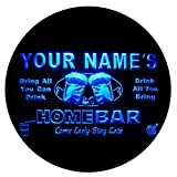 p-tm-b Name Personalized Custom Home Bar Beer Neon Light Sign Blue