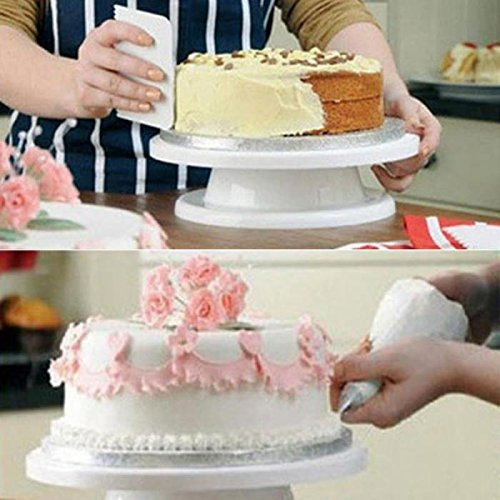 ViewHuge DIY Cakes Decoration Turntable Manually Rotating Round Shaped Cake Mounting Pattern Tool