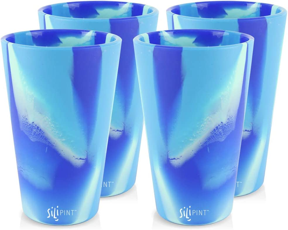 Silipint Silicone Pint Glass Set Patented 2-Pack Hippy Hop Unbreakable Silicone Cup Drinkware Shatter-proof