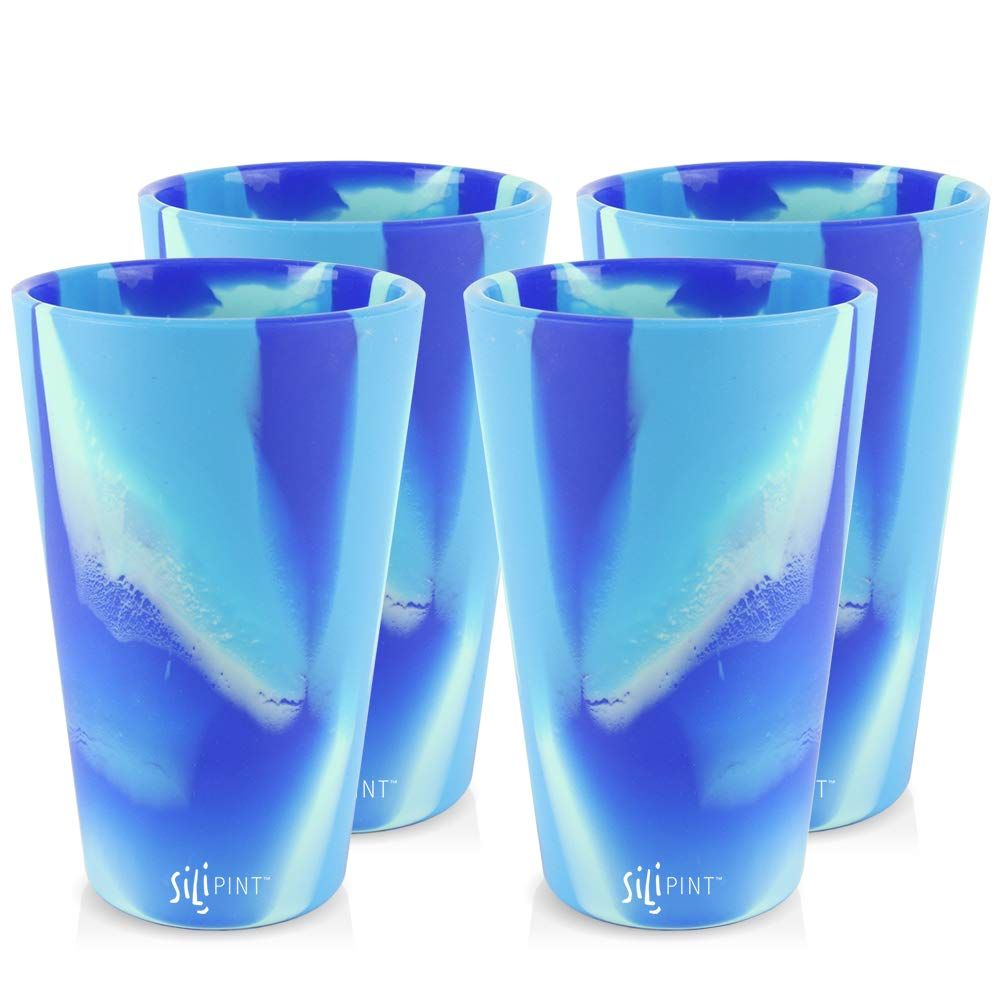 Silipint Silicone Pint Glass Set, Patented, BPA-Free, Shatter-proof, Unbreakable Silicone Cup Drinkware (4-Pack, Arctic Mix) by Silipint