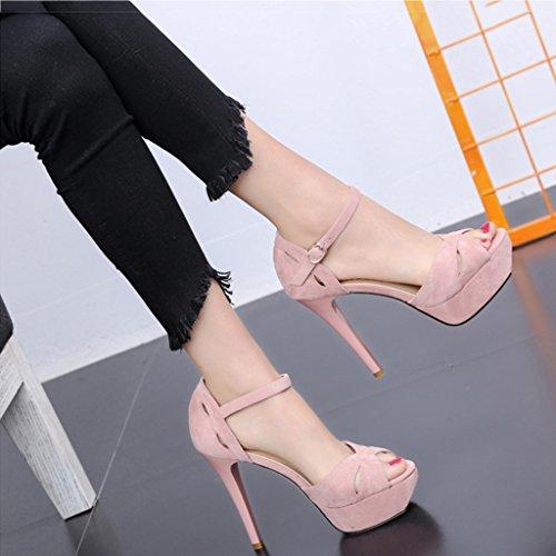 KaiGangHome Sandales Talons hauts Femme Fine avec des chaussures ouvertes à bout ouvert Boucle à talons hauts avec un haut 11cm (Color : Pink, Size : 36) Pink