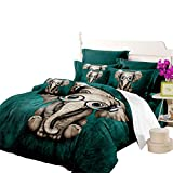Junhome Quilt Cover Full Size Cartoon Listen Music Elephant Dark Green Duvet Cover Beeding Set